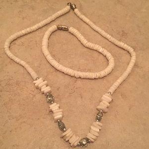 Puka Shell Necklace and Bracelet Set